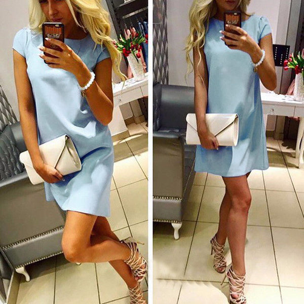 New Arrival Summer Dress 2018 Short Sleeve Casual Mini T Shirt Dress Solid O-neck Elegant Sexy Party Dresses Plus Size - thefashionique