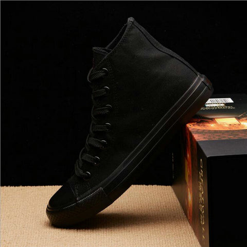 New Arrival Summer Fashion Men Flats Shoes All Black White red Casual Shoes Mens Canvas Shoes Lace-Up high top shoes NN-14 - thefashionique