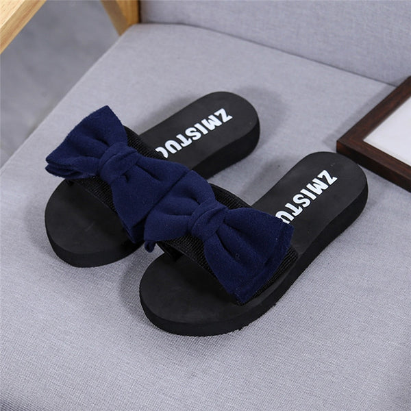 New Arrival Women Bow Summer Sandals Slipper Indoor Outdoor Flip-flops Beach Shoes sapato feminino - thefashionique