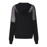 New Arrival Women Sweatshirt 2018 Autumn ZANZEA Hoodies Sexy Mesh See Through Hooded Blusas Long Sleeve Patchwork Casual Tops - thefashionique