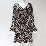 New Arrivals Chiffon Summer Dress Sexy V Neck Leopard Party Mini Dress Women Long Sleeve Beach Sundress Sashes Vestidos Casuais - thefashionique