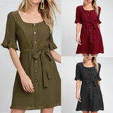New Arrivals Summer Dress Women Solid Half Sleeve Beach Dress Button Sashes Party Sundress Casual Plus Size Vestidos Casuais XL - thefashionique