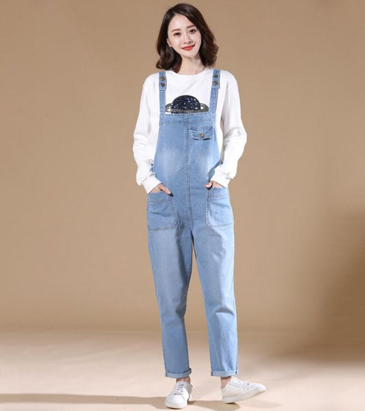 New Arrived Autumn Women Wide Leg Loose Ripped Denim Overalls Casual Jumpsuit Boyfriend Style Pockets Jeans Romper Plus Size - thefashionique