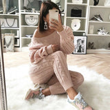 New Autumn Cotton Tracksuit Women 2 Two Piece Set Sweater Top+Pants Knitted Suit O Neck Knit Set Women Outwear Two Piece Set - thefashionique