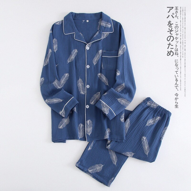 New Autumn Men's Crepe 100% Cotton Gauze Suit Long Sleeves Trousers Mens Pajama Set Men Sleepwear Cartoon Nightwear 2 Piece Set - thefashionique