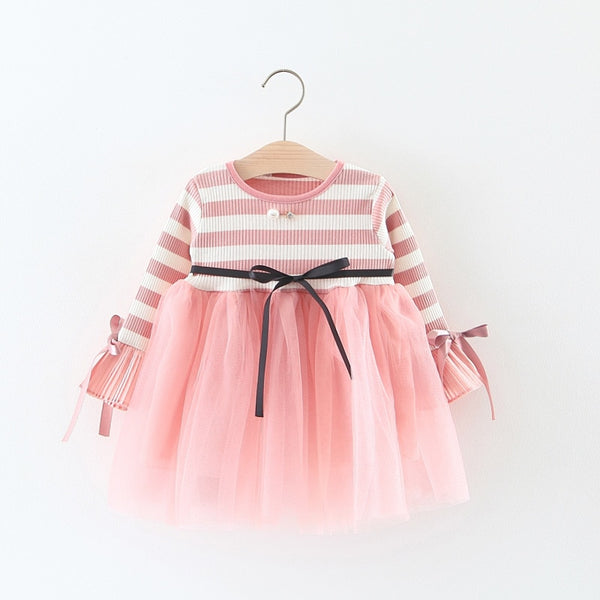 New Baby Girls Autumn Dress Infant Cotton Tops Shirt Children 2018 long sleeve Tutu Dresses 1-4 Year Spring clothes For Girl - thefashionique