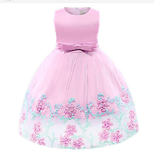 New Baby Girls Dress Summer Flower Lace Sleeveless Novelty Princess Dress For Baby Girls Baby Kids Birthday Party Clothes