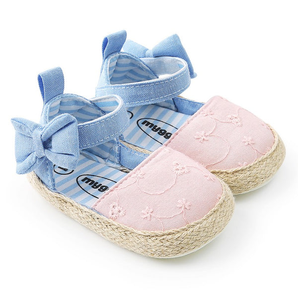 New Baby Princess Girls Mary Jane Shoes First Walker Cowboy Blue Bow Bebe Ballet Dress Walking Shoe Soft Soled - thefashionique