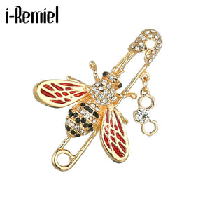 New Bee Insect Brooch Fashion Rhinestone Hijab Pins and Brooches Scarf Buckle Cardigan Trendy Jewelry Gift for Women Accessories
