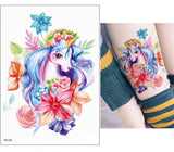New Cartoon Blue Unicorn Fairy Tales Temporary Tattoo For Children Kids Waterproof Flash Tattoo Sticker Girl Baby Body Art Horse - thefashionique
