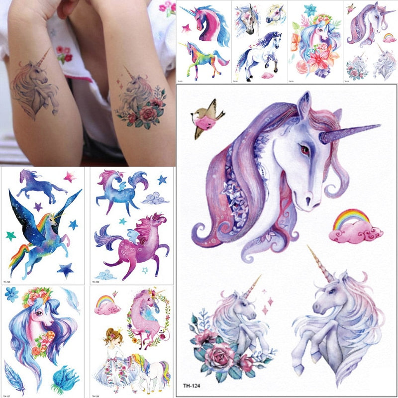 More Than 180 Tattoos Ooopsi Unicorn Temporary Tattoos for Kids - Non Toxic Waterproof Cartoon Rainbow Unicorn Tattoos Sticker for Children Birthday Party Favors Pack of 10 Sheets