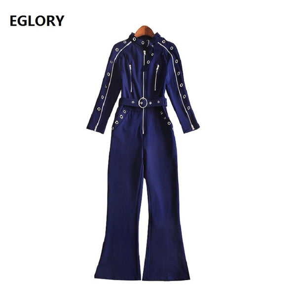 New Chic Women Fashion Jumpsuits 2018 Autumn Women Eyelet Zipper Sleeve Flare Leg Casual Jumpsuit & Rompers Ladies Pant Overalls - thefashionique