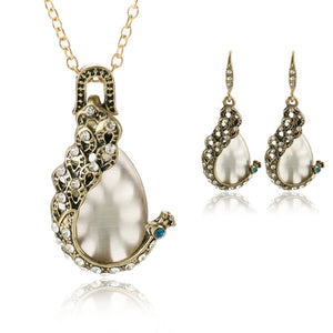 New Classic Moonstone Stone Earrings Pendant With Chain Set Peacock Design Party Wedding Fashion Jewelry Set For Women 2018 - thefashionique