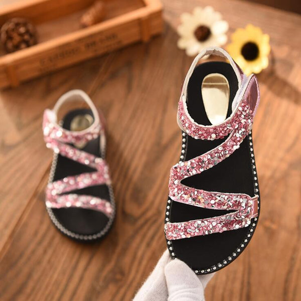 New Crystal Sandals Girls Shiny Summer Shoes Children Beach Sandals For Girls Princess Shoes Kids Size 26-36 - thefashionique
