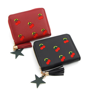 New Cute Cherry Embroidered Women Small Wallet PU Leather Tassel Short Girls Wallets Coin Purse Card Holders Lady Mini Money Bag - thefashionique