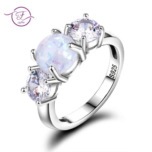 New Design Fashion Opal Rings Silver 925 Zircon Rings High Quality Wedding Jewelry Wholesale Party Gift Size 6-10 - thefashionique