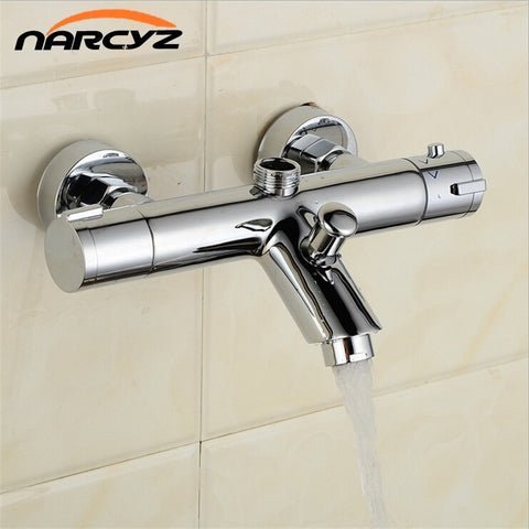 New Design Polished Chrome Solid Brass Bath Thermostatic Shower Faucet With Bend Angle AL-839B