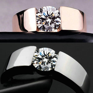 New Design Simple Rhinestone Rings Fashion Silver&Rose Gold Mixed Color Filled CZ Wedding Rings Gift for Woman