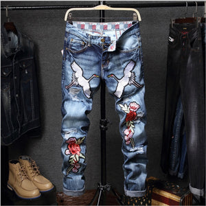 New Designer Men Jeans Famous Brand  luxury Rose and Crane Embroidered Jeans Slim Fit Men's Printed Jeans Biker Denim Pants - thefashionique