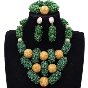 New Dudo Jewelry Set African Beads Green Gold Dubai jewelry Set More Bold Women Jewellery Set Free Ship Parure Bijoux Femme 2018 - thefashionique