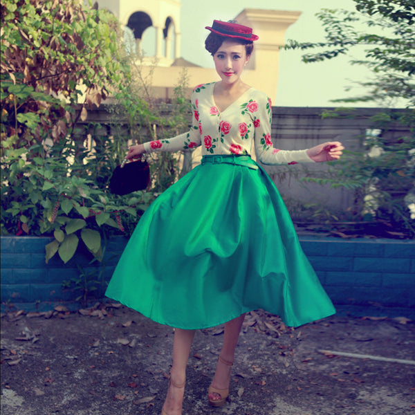New European Style Elegant Audrey Hepburn Retro Women Belt High Waist Umbrella Skirts Female Slim Pleated Skirt Saias Femininas