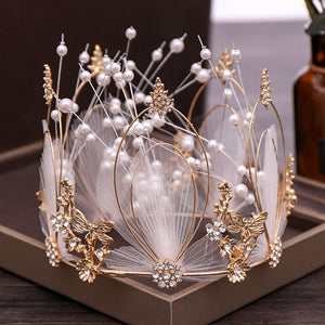 New Exquisite Luxury White Feather Design Alloy Round Crown Large Earrings Jewelry Sets Zircon Imitation Pearl Decore Tiaras