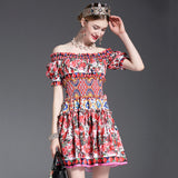 New Fashion 2017 Runway Designer Summer Dress Women's Off the Shoulder Slash neck Charming Sexy Rose Floral Printed Short Dress - thefashionique
