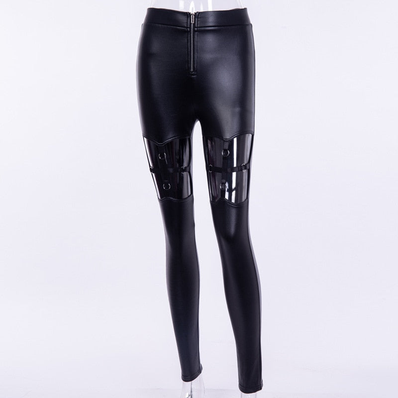 New Fashion 2018 Autumn Punk Gothic Women Pants Leggings Hollow Out Cross Elastic Band PU Leather Pant Dropshipping - thefashionique