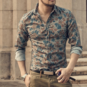 New Fashion Casual Men Shirt Long Sleeve Europe Style Slim Fit Shirt Men High Quality Cotton Floral Shirt S2124 - thefashionique