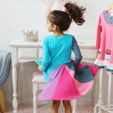New Fashion Fall Winter Lightning Long Sleeve Cotton Color Block Baby Girl Cotton Party Dresses for Kids Princess Girls Dress - thefashionique