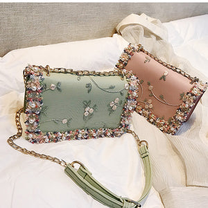 New Fashion Girls Pearl Flower Flap Bags Women 2018 Popular Crossbody Shoulder Bag Casual Famous Brand Designed Messenger Clutch - thefashionique