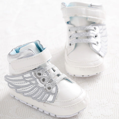 New Fashion PU Leather Baby Boys Prewalker Shoes Infant Toddler Angel Wings Bebe Crib First Walkers Boots Footwear Prewalkers