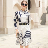 New Fashion Spring Dress 2019 Women's Brand Designer Runway Dress Long Sleeve Bow Tie Geometric Print Knee Length Casual Dress - thefashionique