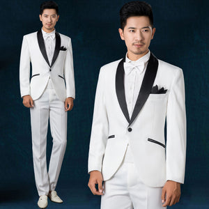 New Fashion White Jacket Black Pants Double Breasted Men's Wedding Suits Party Prom Tuxedo Groomsmen Suits Groom Tuxedos - thefashionique
