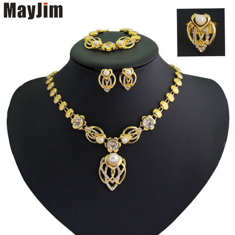 New Fashion Women 2018 Jewelry Sets  Gold Tulip Flowers Necklaces Earrings Bracelet adjustable ring Jewelry Sets & More Party - thefashionique