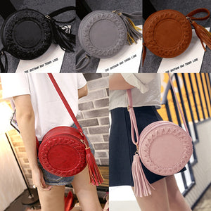 New Fashion Women Bag Tassel Round Weave Cross Body Shoulder Bag Ladies Pu Leather Handbag Cute Roll Girl Beach Bag Bolsos Mujer - thefashionique