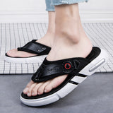 New Flip Flops Men Summer Breathable Leather Slippers Roman Beach Slippers Outdoor Men Leather Flip Flops Men Casual Shoes - thefashionique