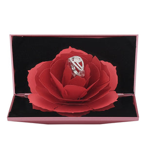 New Four Color 3D Fashion Elegant Faceted Rings For Lovers Women Girls Wedding Packaging With Creative Flower Box