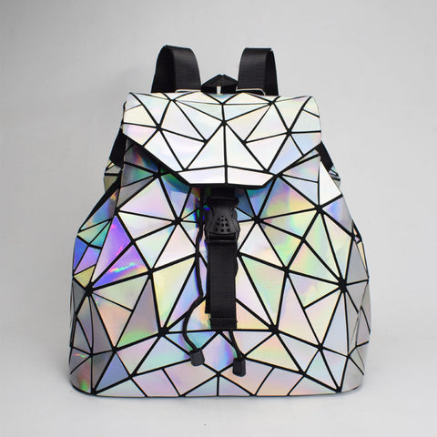 New Geometric Women Backpack Drawstring Female Colorful Backpacks For Teenage Girls Bagpack Bag Holographic Backpack mochila - thefashionique