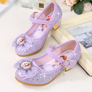 New Girls high heels Sandals Summer Spring children princess Sofia shoes little girl shoes purple shoes enfant sandals - thefashionique