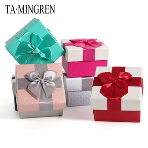 New High-end Pink Ribbon Bow Paper Wedding Ring Box Earring Jewelry Storage Case Gift For Lovers 5 Colors Available
