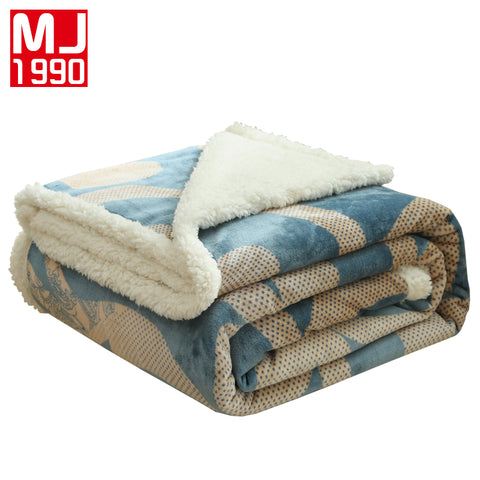 New Home Textile Berber Fleece Blanket Warm Soft Raschel Blankets Double Layer Throw On Sofa Bed Plane Plaid Printing Bedspreads
