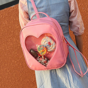 New Hot Harajuku Candy Transparent Love Heart Shape Schoolbags Sweet Pink Backpack Shoulder Bags For Teenager Girls Book Bag - thefashionique