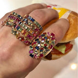 New Luxury Rings For Women Big Oval Statement Noble Gold Color rainbow baguette CZ elegance lady Ring - thefashionique