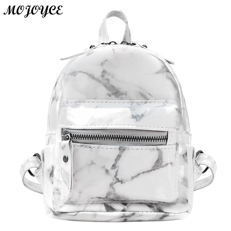 New Marble Pattern Backpack Women Small Backpack PU Leather Rucksack for Teenage Girls Black White 2018 Female Cute Back Pack - thefashionique