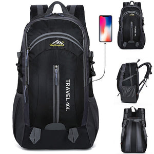 New Men Backpack USB Charging 40L Large Capacity Out Door For Male Bag Waterproof Casual Backpacks Unisex Black Travel Backpacks - thefashionique