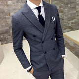 New Men's Fashion High-quality Cotton Pure Color Double-breasted Formal Wedding Dress Suit Jackets Men's Business Suit Blazers - thefashionique