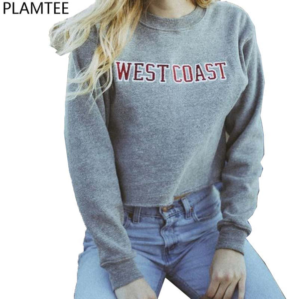 New Moletom Feminino 2017 Autumn Letters Printed Short Sweatshirts Women Gray Hoodies Harajuku West Coast Cropped Sweatshirts - thefashionique