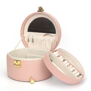 New Pu Leather Exquisite Round With Lock Multifunctional Double-layer Removable Jewelry Ring Necklace Earrings Watch Storage Box