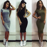 New SEXY Women Summer Casual Dresses Short Sleeve Evening Party Black Gray Army Green Dress Women clothing - thefashionique